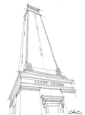 Drawing - Denny Chimes Sketch by Calvin Durham