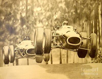 Automotive Drawing - Denny Hulme Nurburgring by Jen Santa