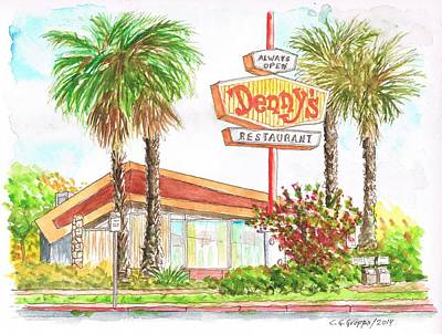 Denny's Coffee Shop In Lankershim Blvd, North Hollywood, California Art Print by Carlos G Groppa