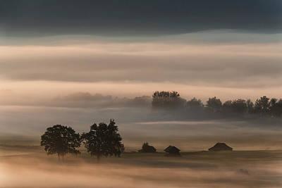Dense Fog Over The Moos... Art Print