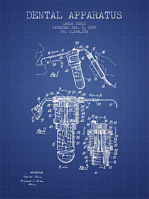 Dental Apparatus Patent Drawing From 1965 - Blueprint Art Print