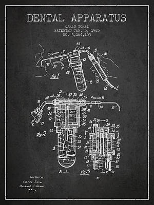Dental Apparatus Patent Drawing From 1965 - Dark Print by Aged Pixel