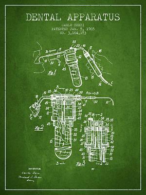 Dental Apparatus Patent Drawing From 1965 - Green Art Print