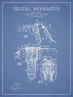 Excavator Digital Art - Dental Apparatus Patent Drawing From 1965 - Light Blue by Aged Pixel