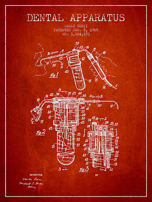Dental Apparatus Patent Drawing From 1965 - Red Print by Aged Pixel