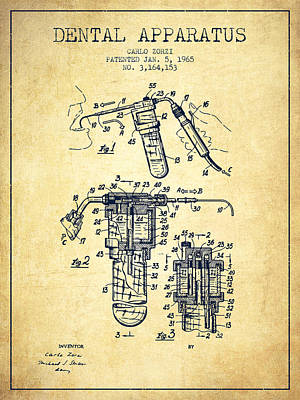 Dental Apparatus Patent Drawing From 1965 - Vintage Print by Aged Pixel