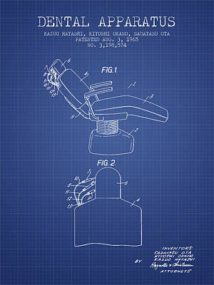 Dental Apparatus Patent From 1965 - Blueprint Art Print