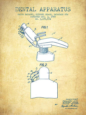 Dental Apparatus Patent From 1965 - Vintage Paper Art Print