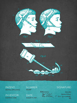 Dental Appliance Patent From 1907 - Gray Turquoise Art Print