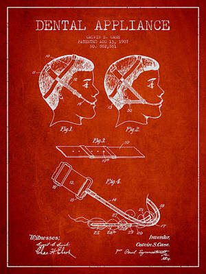 Dental Appliance Patent From 1907 - Red Art Print