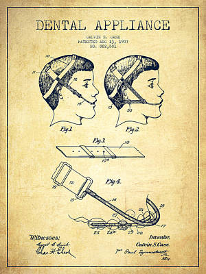 Dental Appliance Patent From 1907 - Vintage Art Print