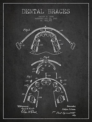 Excavator Digital Art - Dental Braces Patent From 1907 - Dark by Aged Pixel