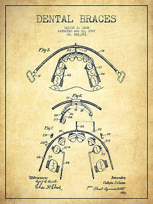 Tooth Digital Art - Dental Braces Patent From 1907 - Vintage by Aged Pixel