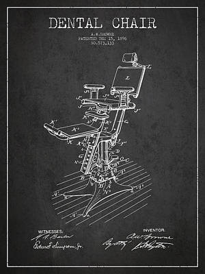 Dental Chair Patent Drawing From 1896 - Dark Art Print by Aged Pixel