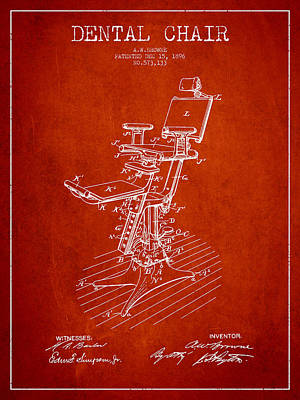 Dental Chair Patent Drawing From 1896 - Red Art Print by Aged Pixel