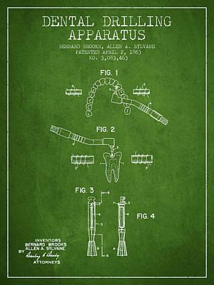 Dental Drilling Apparatus Patent From 1963 - Green Art Print