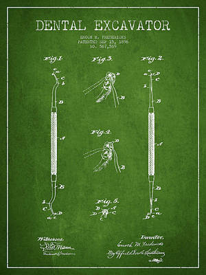 Dental Excavator Patent Drawing From 1896 - Green Art Print by Aged Pixel
