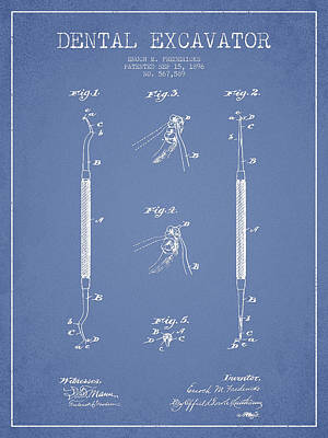 Dental Excavator Patent Drawing From 1896 - Light Blue Art Print by Aged Pixel