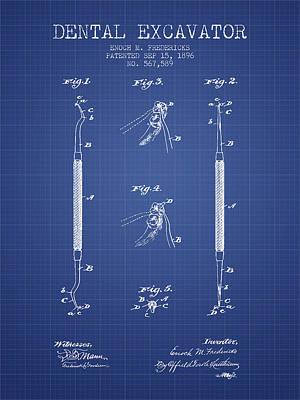 Dental Excavator Patent From 1896 - Blueprint Art Print