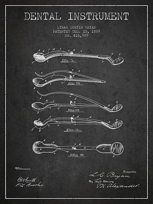 Dental Instrument Patent From 1889 - Dark Art Print by Aged Pixel