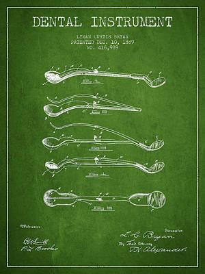 Dental Instrument Patent From 1889 - Green Art Print