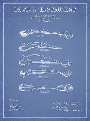 Dental Instrument Patent From 1889 - Light Blue Art Print