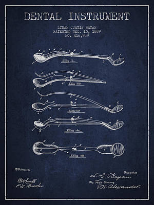 Dental Instrument Patent From 1889 - Navy Blue Art Print by Aged Pixel