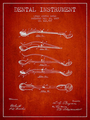 Dental Instrument Patent From 1889 - Red Art Print by Aged Pixel