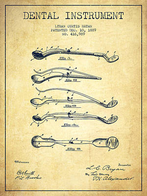 Dental Instrument Patent From 1889 - Vintage Art Print