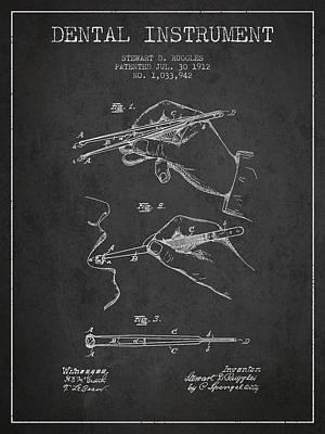 Dental Instrument Patent From 1912 - Dark Art Print