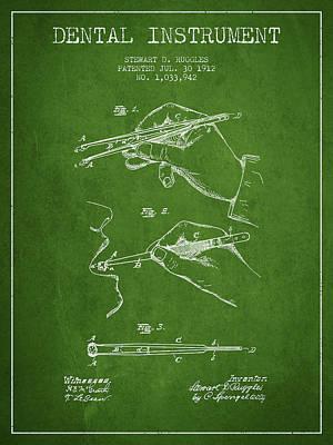 Dental Instrument Patent From 1912 - Green Art Print