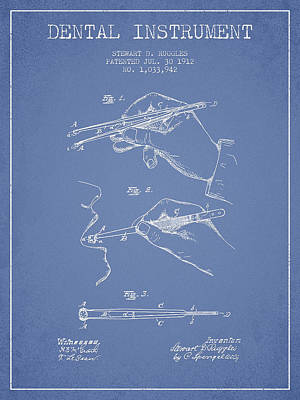 Dental Instrument Patent From 1912 - Light Blue Art Print