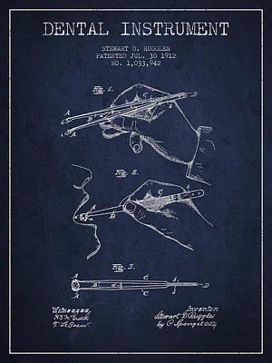 Dental Instrument Patent From 1912 - Navy Blue Art Print