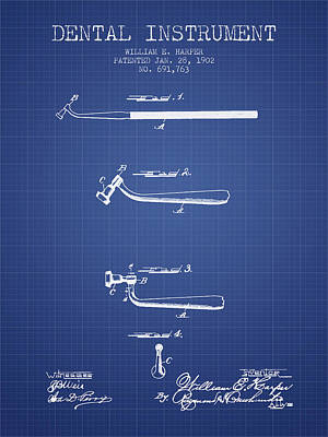Excavator Digital Art - Dental Instruments Patent From 1902 -  Blueprint by Aged Pixel