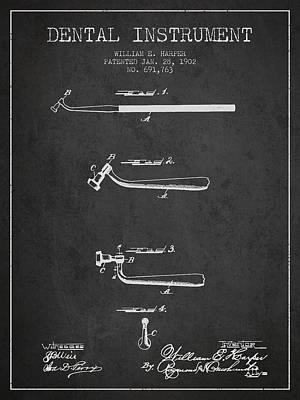 Dental Instruments Patent From 1902 - Dark Art Print