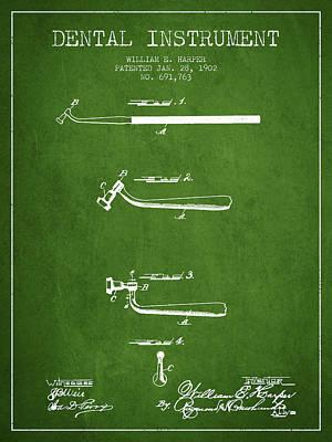 Dental Instruments Patent From 1902 - Green Art Print