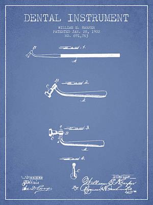 Dental Instruments Patent From 1902 - Light Blue Art Print