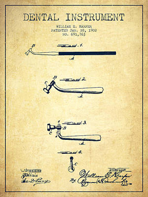 Dental Instruments Patent From 1902 - Vintage Art Print