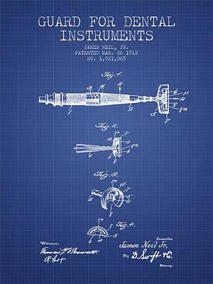 Dental Instruments Patent From 1912 -  Blueprint Art Print