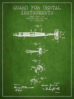 Dental Instruments Patent From 1912 - Green Art Print