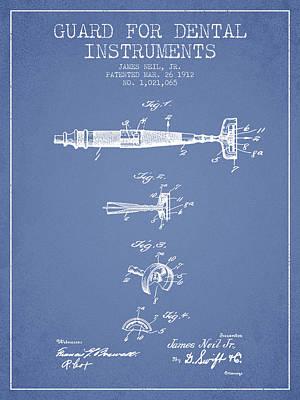 Dental Instruments Patent From 1912 - Light Blue Art Print