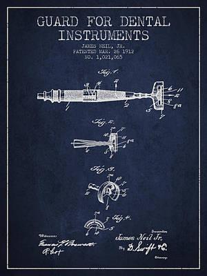 Dental Instruments Patent From 1912 - Navy Blue Art Print