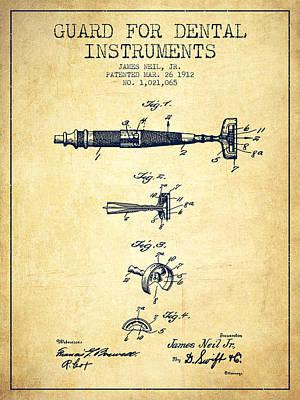 Dental Instruments Patent From 1912 - Vintage Art Print
