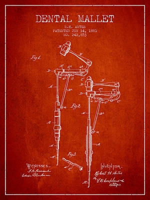 Dental Mallet Patent From 1881 - Red Art Print by Aged Pixel