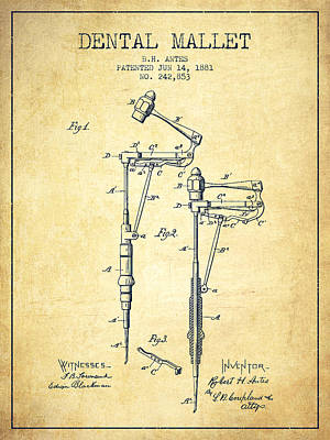 Dental Mallet Patent From 1881 - Vintage Art Print