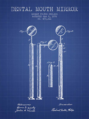 Dental Mouth Mirror Patent From 1892  - Blueprint Art Print
