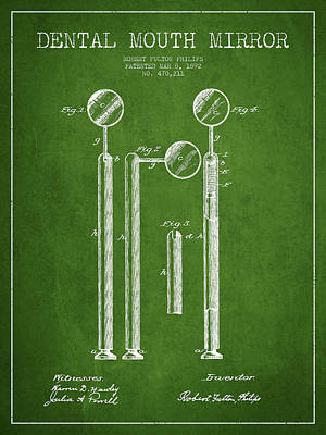 Dental Mouth Mirror Patent From 1892 - Green Art Print by Aged Pixel