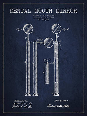 Dental Mouth Mirror Patent From 1892 - Navy Blue Art Print by Aged Pixel