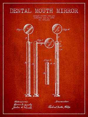 Excavator Digital Art - Dental Mouth Mirror Patent From 1892 - Red by Aged Pixel