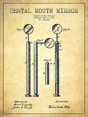 Excavator Digital Art - Dental Mouth Mirror Patent From 1892 - Vintage by Aged Pixel